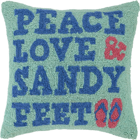 Peace Love and Sandy Feet Pillow