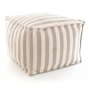 Trimaran Stripe Platinum / Ivory Indoor Outdoor Pouf