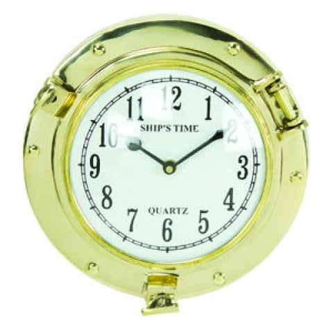 Polished Brass Porthole Clock