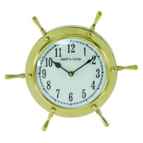 Polished Brass Ship Wheel Clock