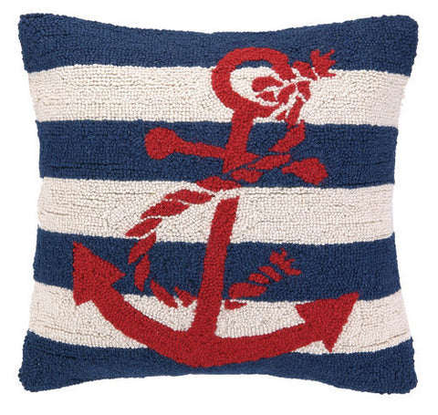 Large Anchor Striped Hook Pillow - Red, White & Blue