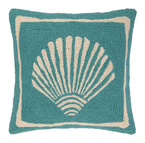 Scallop Hook Pillow - Turquoise -SOLD OUT!