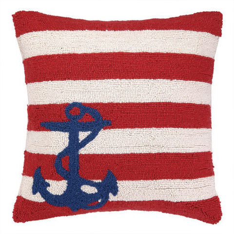 Small Anchor Striped Hook Pillow - Light Blue, White & Navy