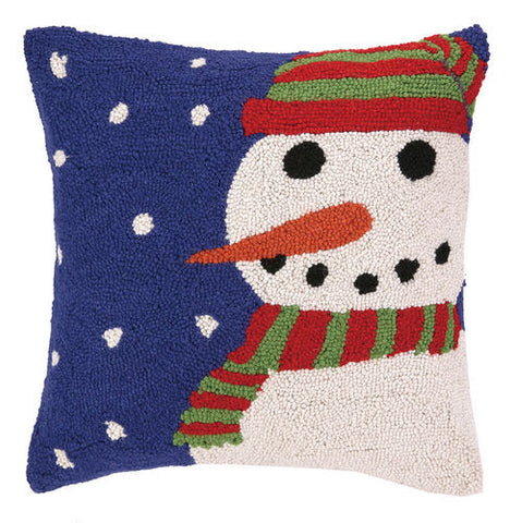 Snowman Blue Snowy Night Hook Pillow