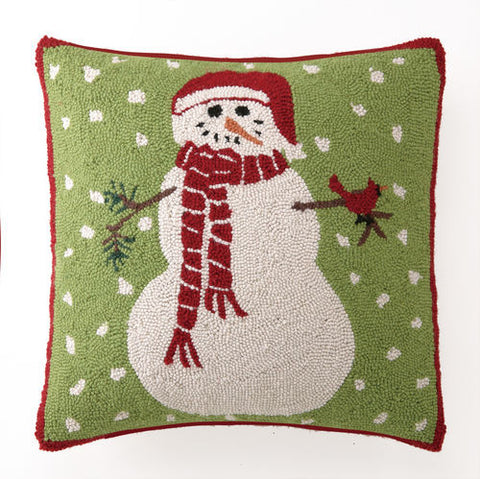 Snowman with Cardinal Hook Pillow