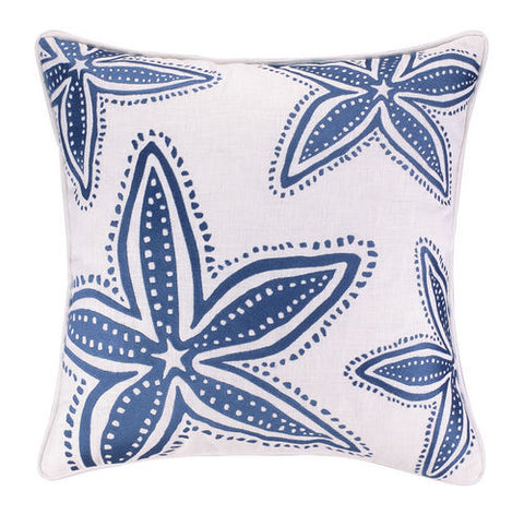 Embroidered Navy Fish Net Pillow