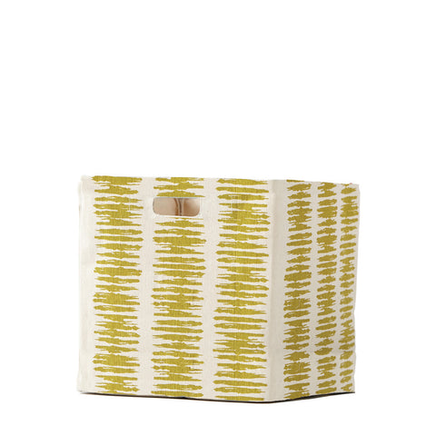 Static Stripe Canvas Cube - Citron
