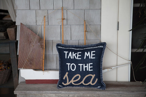 Navy Embroidered Nautical Pillow - Seahorse
