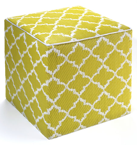 Tangier Indoor/Outdoor Cube - Celery & White -SOLD OUT