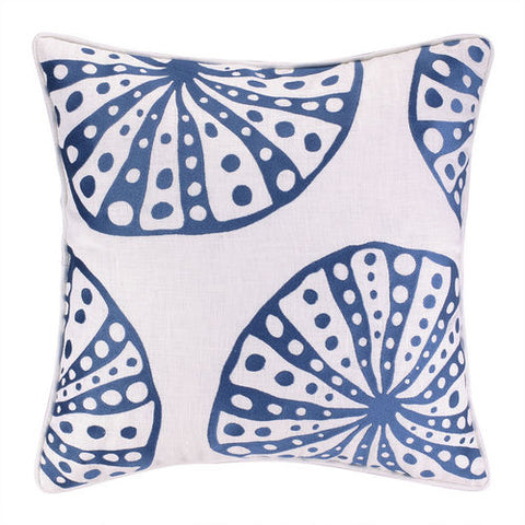 Embroidered Navy Starfish Pillow