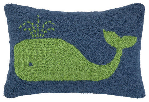 Whale Hook Pillow - Green/Navy