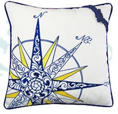 Compass Rose Indoor/outdoor Pillow - White, navy, yellow