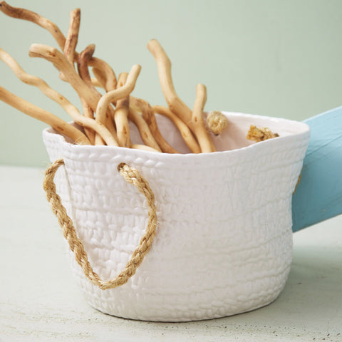 Rope Handles Ceramic Basket - SOLD OUT!