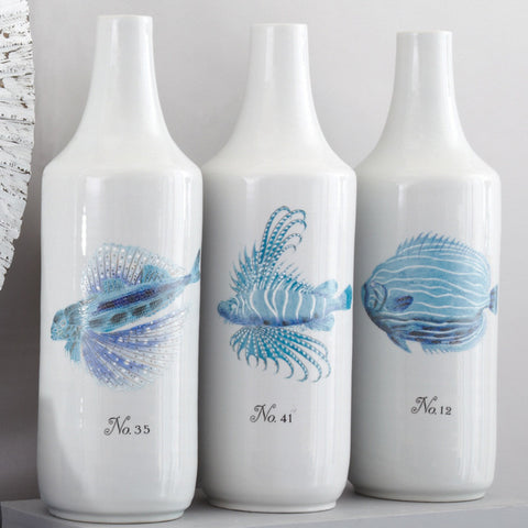 White and Blue Coral Fish Designer Vase Set -SOLD OUT