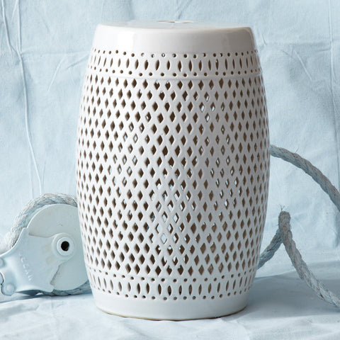 White Garden Stool - Ceramic - SOLD OUT