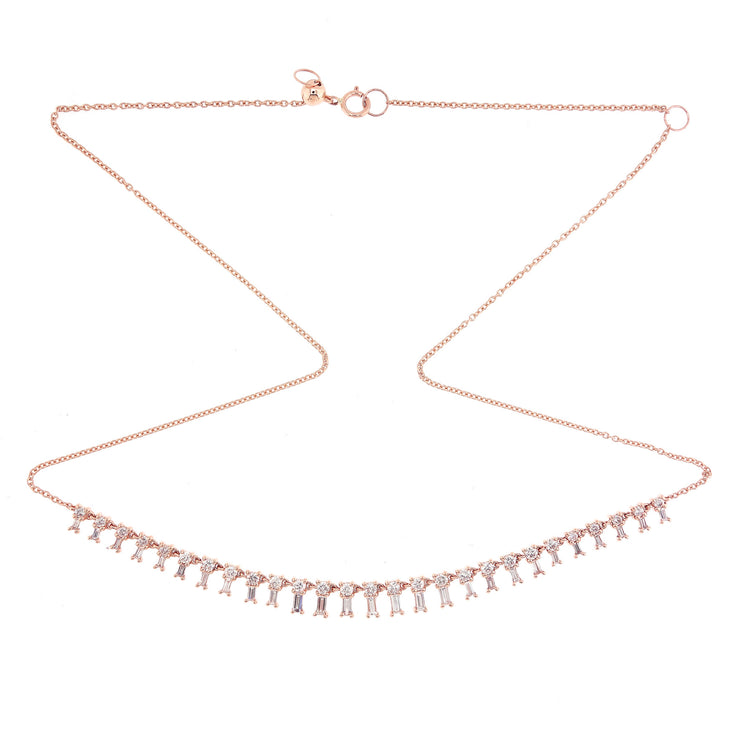 Multi Diamond Fringe Necklace