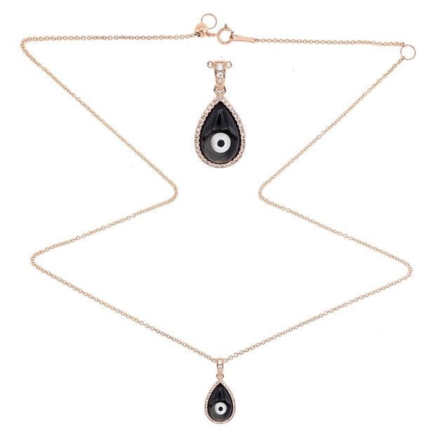 Black Gem Evil Eye Pendant Necklace