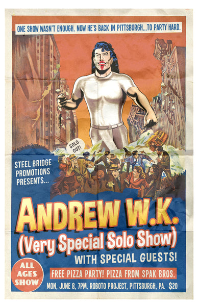 Andrew W.K. Pittsburgh June 8 Poster