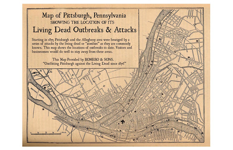 Pittsburgh Zombie Outbreaks: A Map