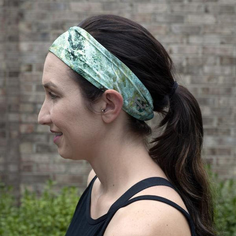 Side view of woman in Bamboo Terry Lined Sweatband