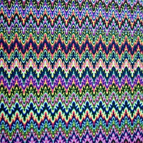 Close up of Rave On pattern--bold colors in abstract chevron pattern