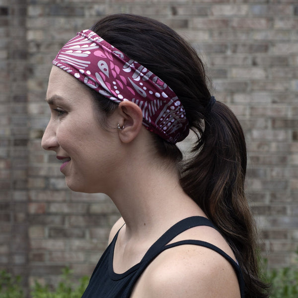 Maroon Meadow Sweatband - Ponya Bands