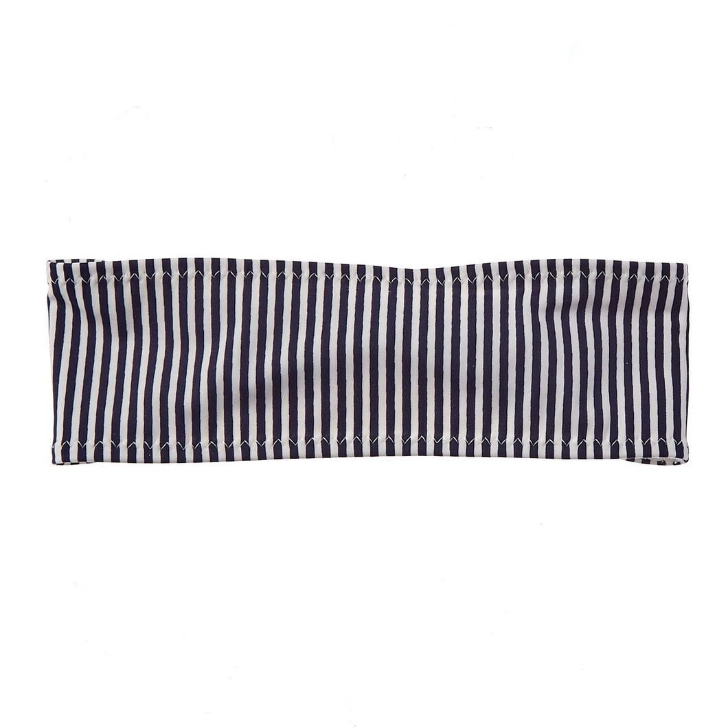 Navy and White Stripe Bamboo Terry Lined Sweatband - Ponya Bands