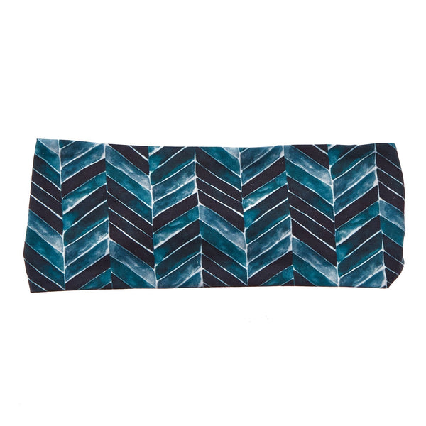 "Teal Chevron 4"" Bamboo Jersey Lined Band - Ponya Bands"