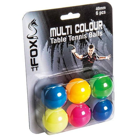 Fox TT Coloured Table Tennis Balls 6 pack