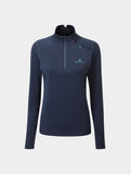 Ron Hill Tech Matrix Womens 1/2 Zip - Deep Navy/Spa Green
