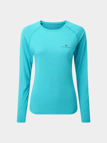 Ron Hill Women's Core L/S Tee - Spa Green Marl/Deep Navy
