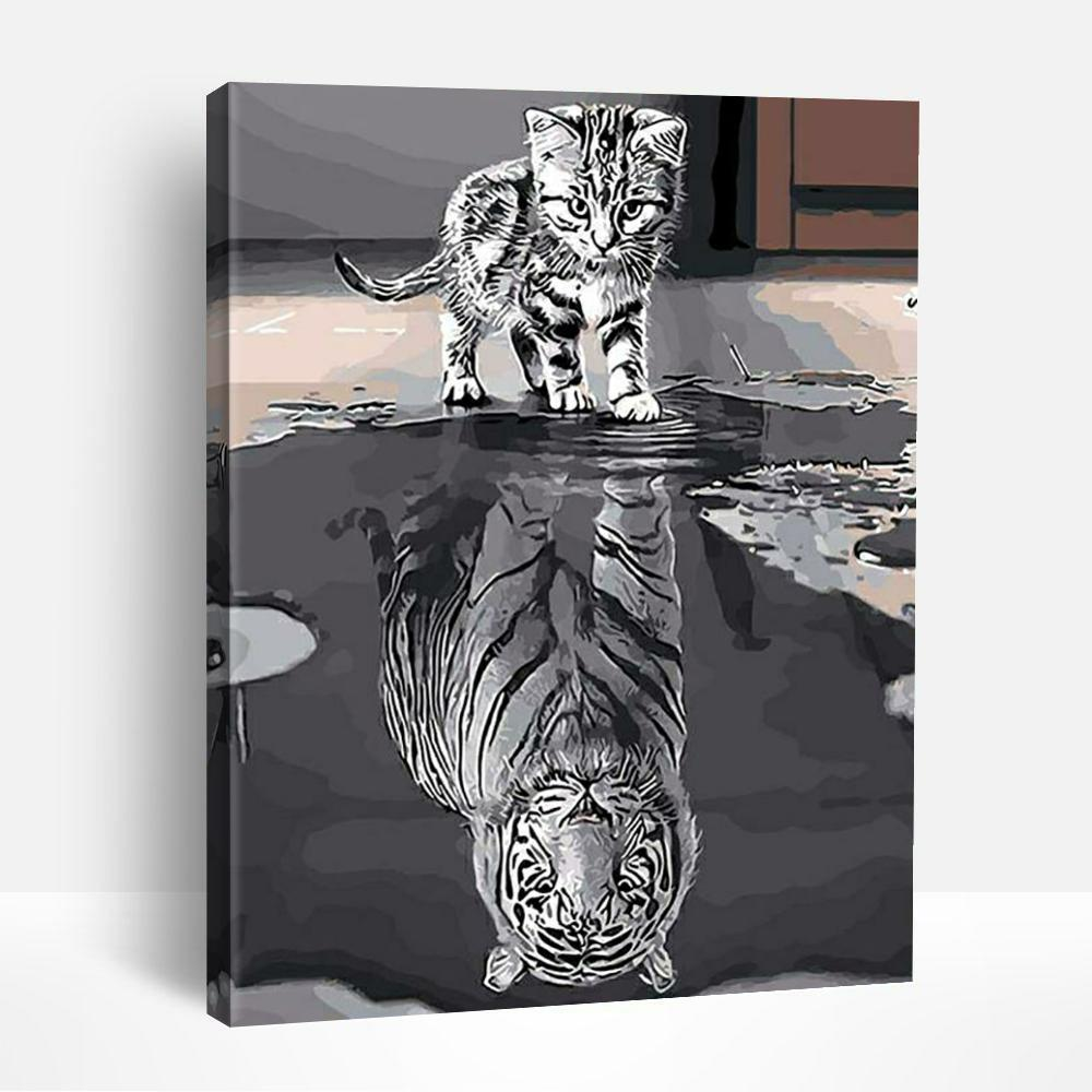 Cat Mirror Tiger | Paint By Numbers
