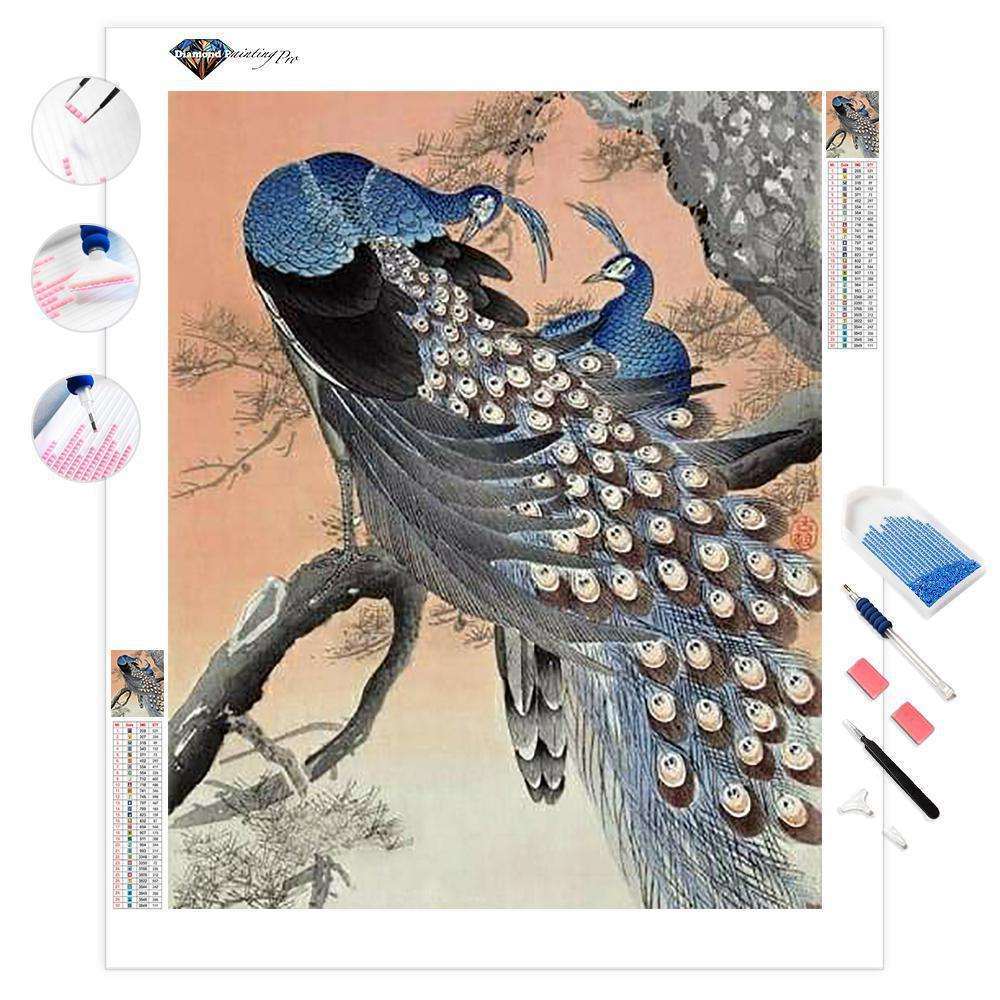 Two Peacocks on Tree Branch | Diamond Painting