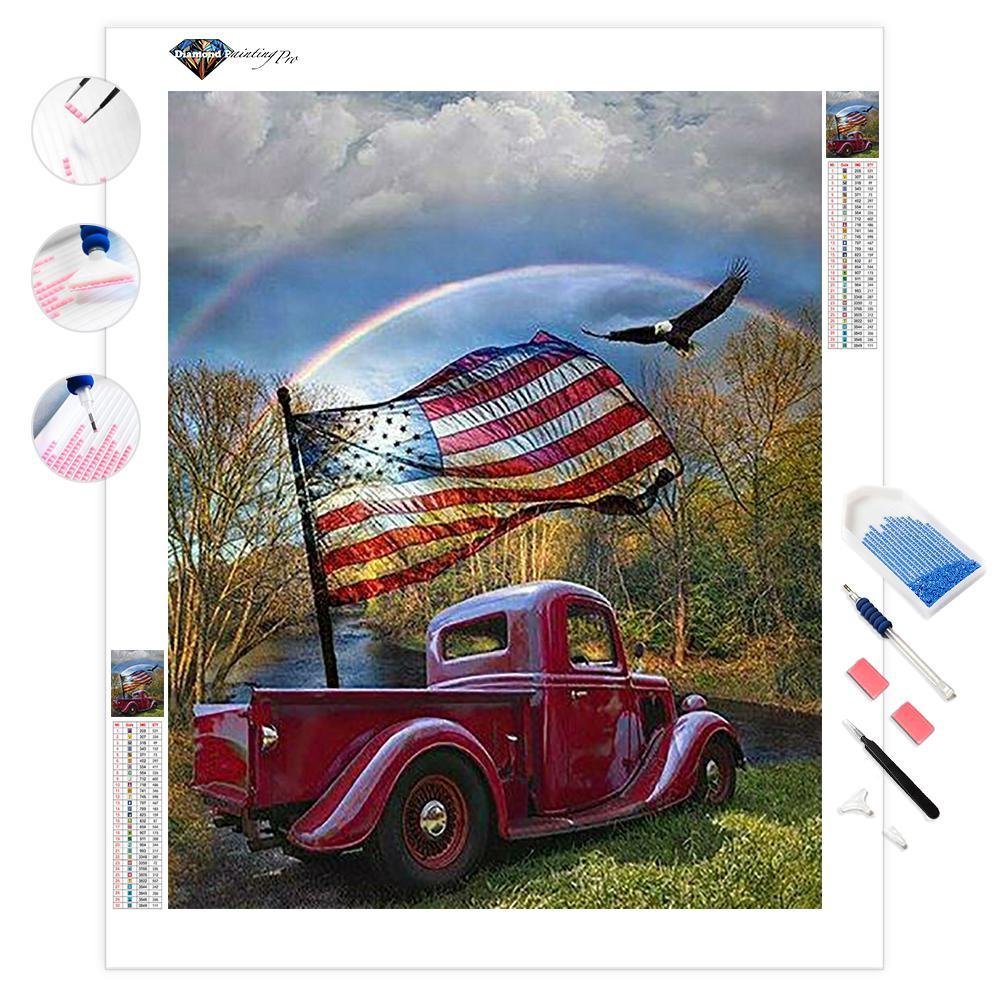 America Flag Car | Diamond Painting