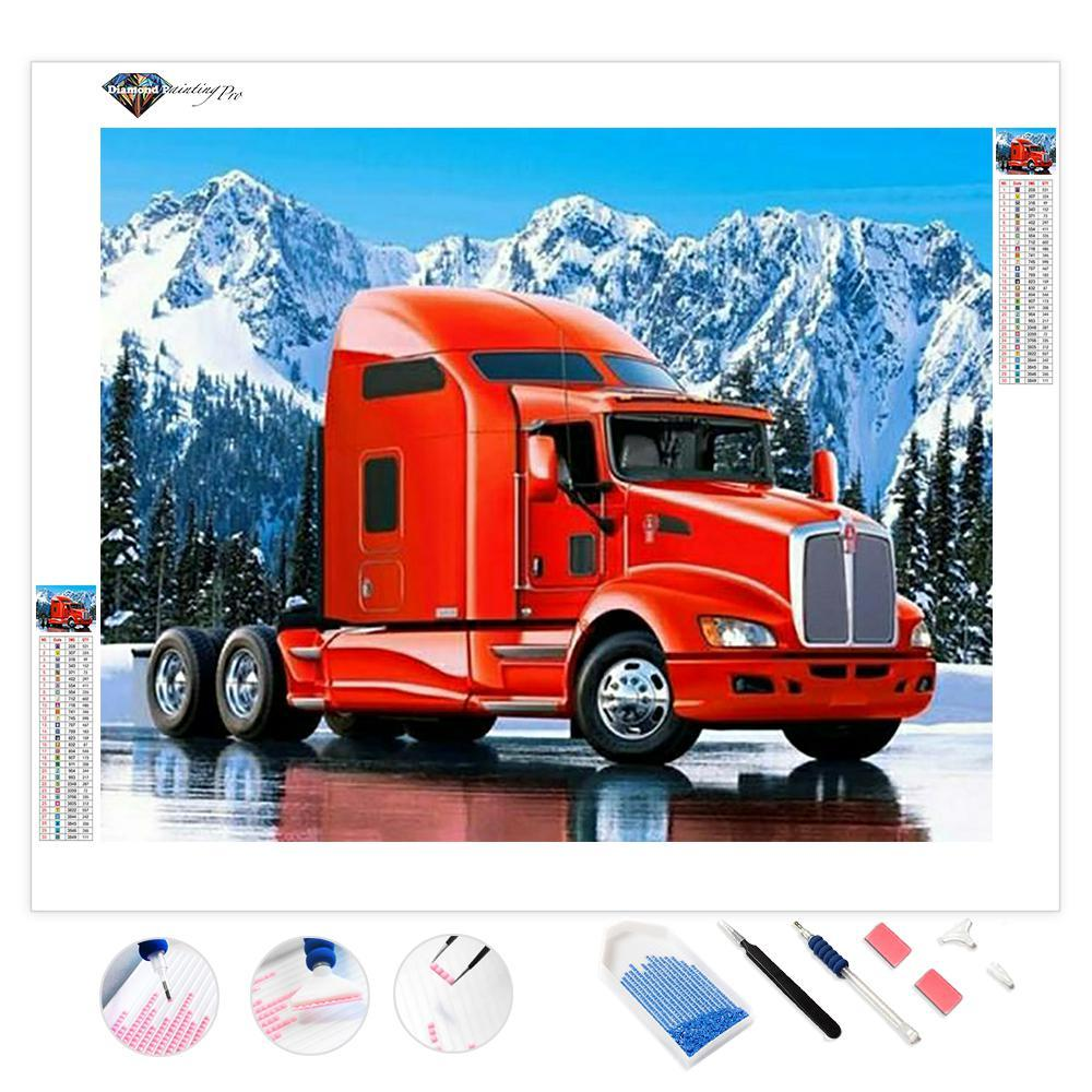 Red Truck in Snow | Diamond Painting