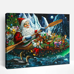 Santa Claus Rowing | Paint By Numbers