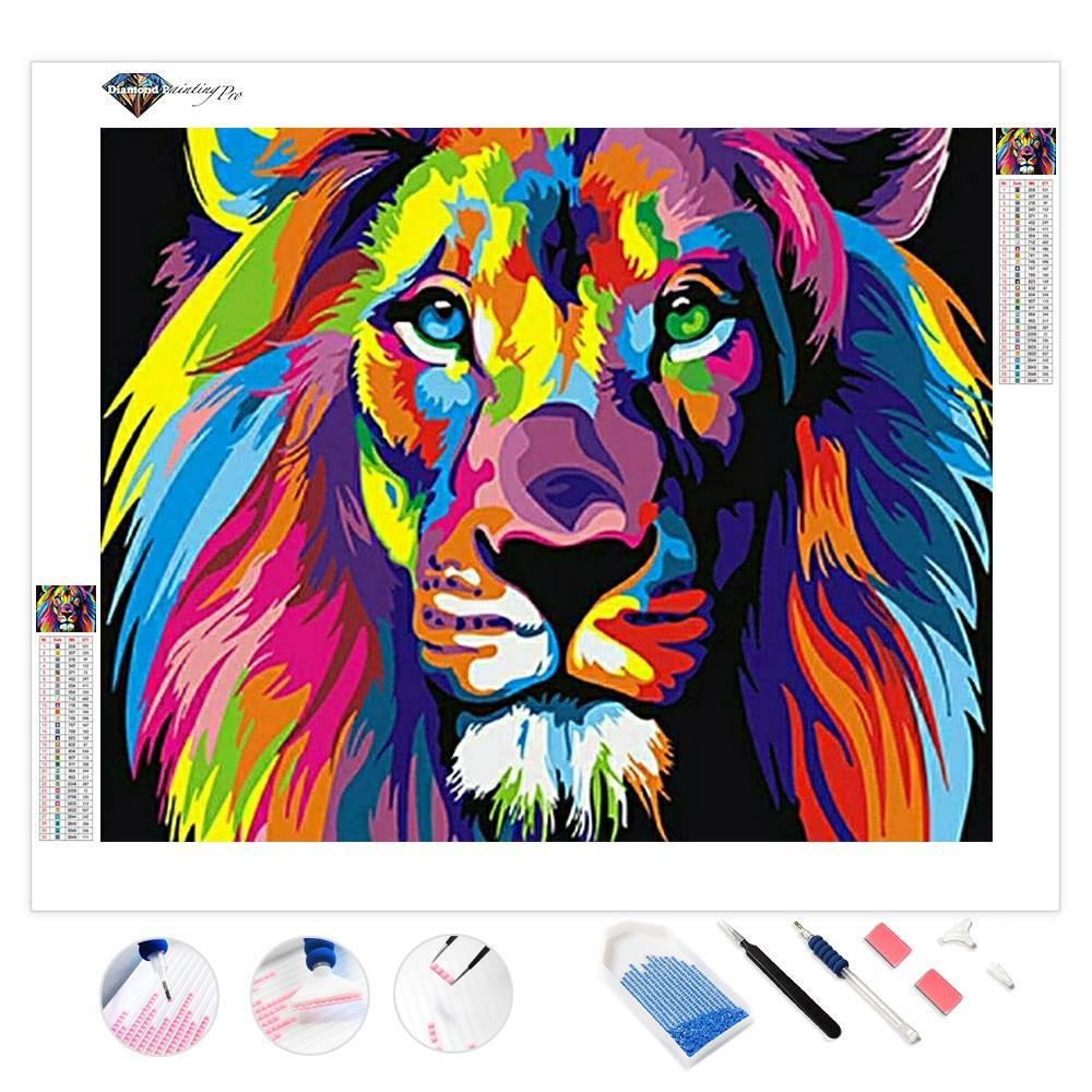 Colorful Lions Animals | Diamond Painting