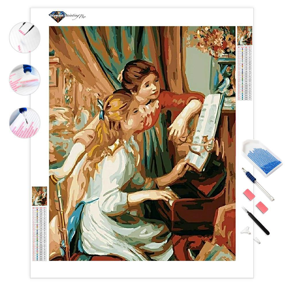 Two Young Girls at the Piano | Diamond Painting