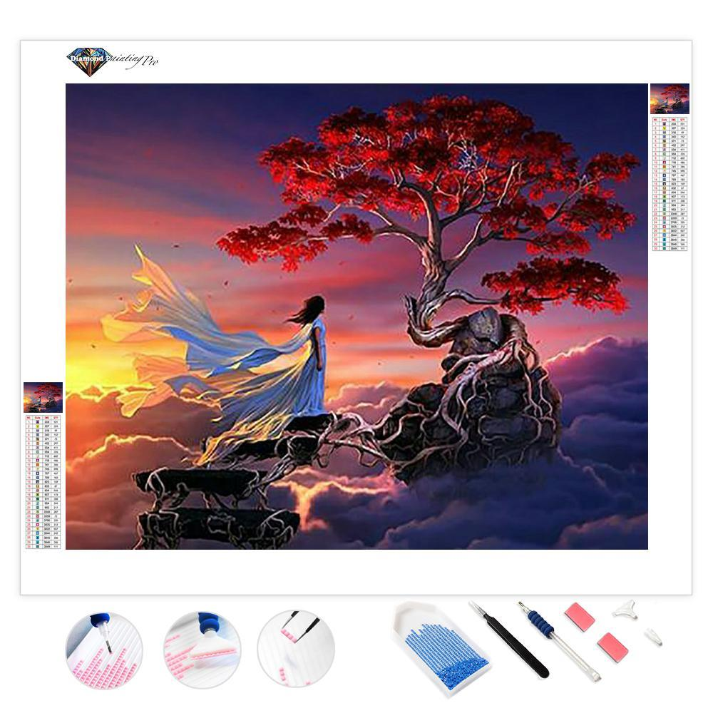 Red Tree in Sky | Diamond Painting