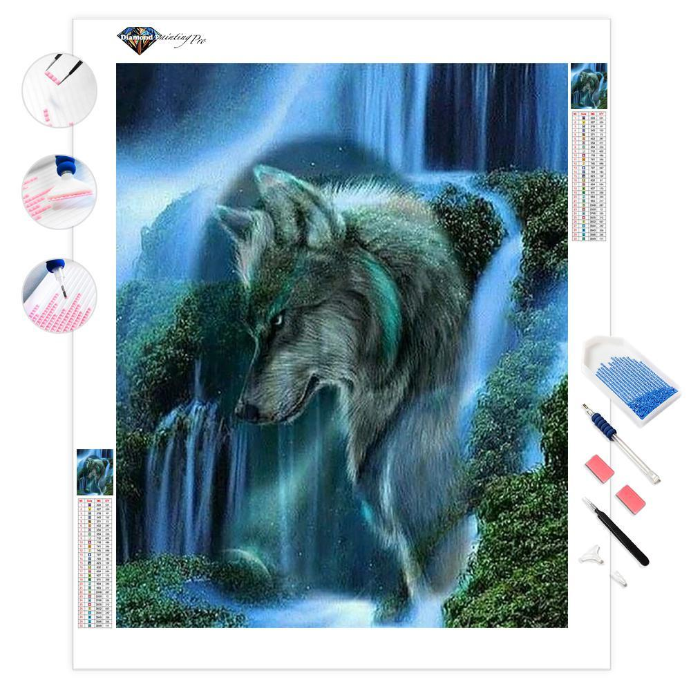 Wolf in the Waterfall | Diamond Painting