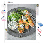 Paprika Lime Salmon Kebabs with Yoghurt | Diamond Painting