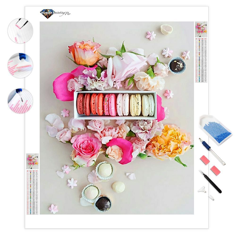 Pink Macarons with Flowers | Diamond Painting