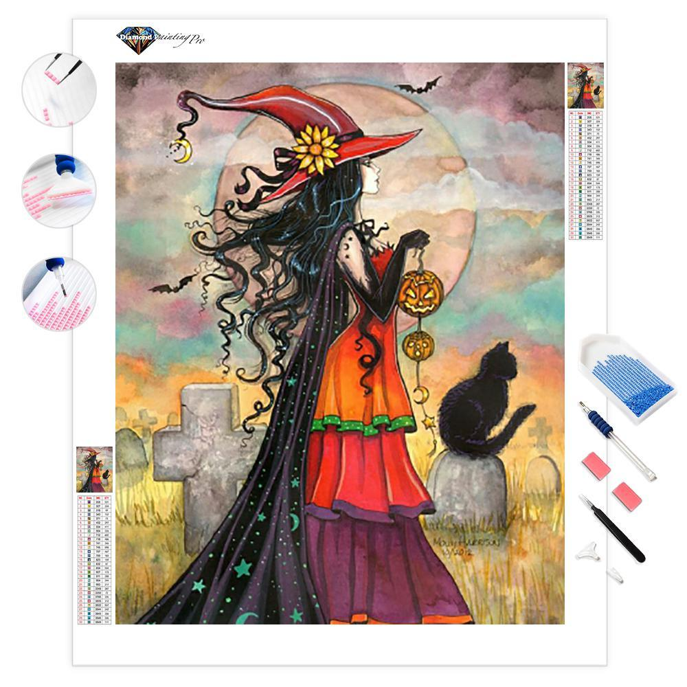 Witch Carrying a Pumpkin Lantern | Diamond Painting