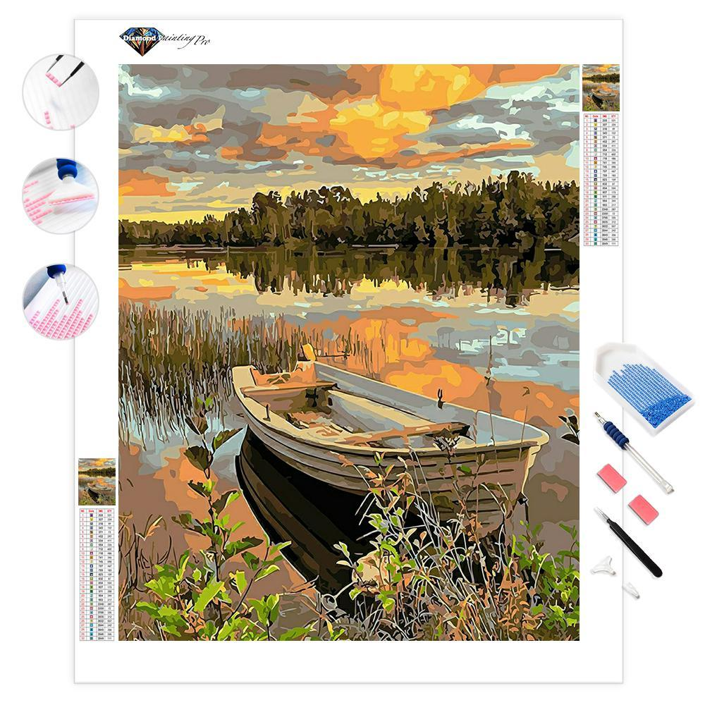 Lakeside Boat-ddp | Diamond Painting