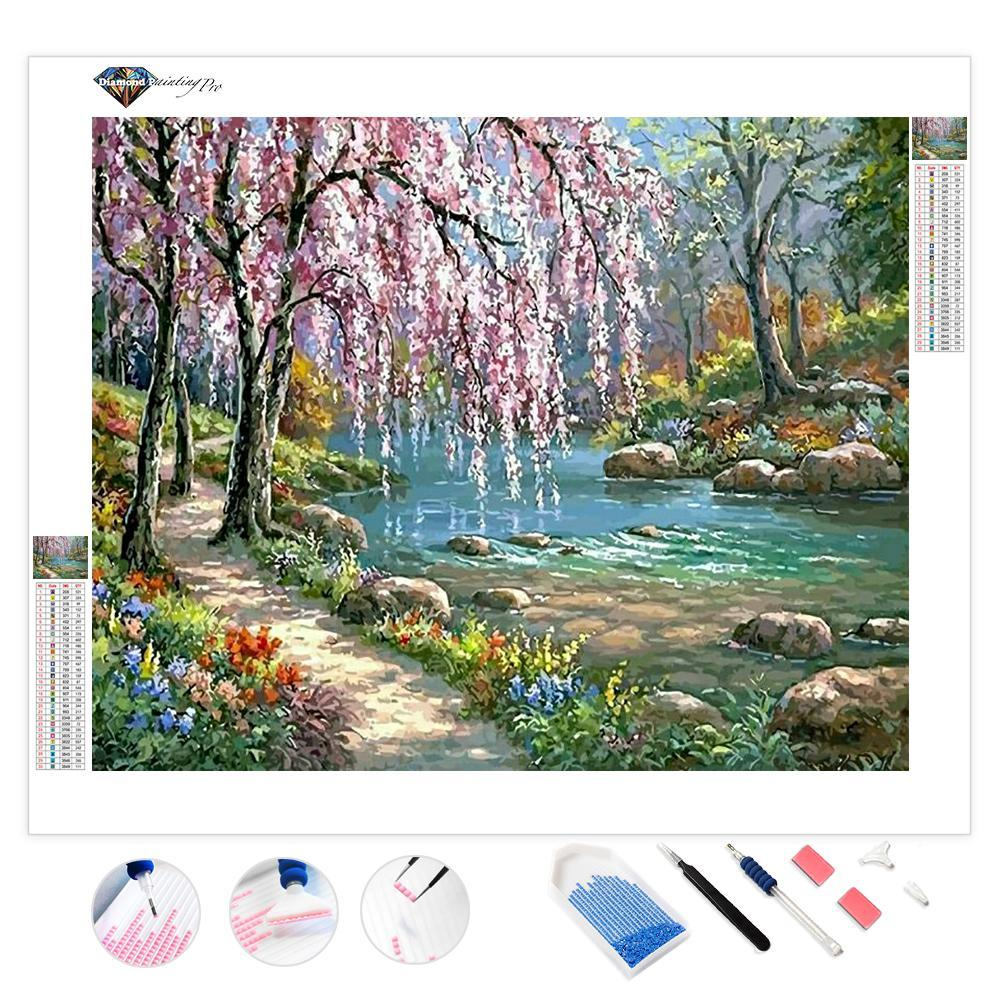 Cherry Blossom Tree Near River | Diamond Painting