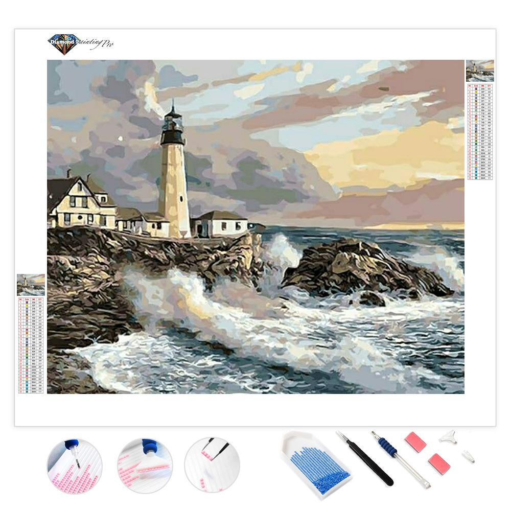 Crashing Waves Lighthouse | Diamond Painting
