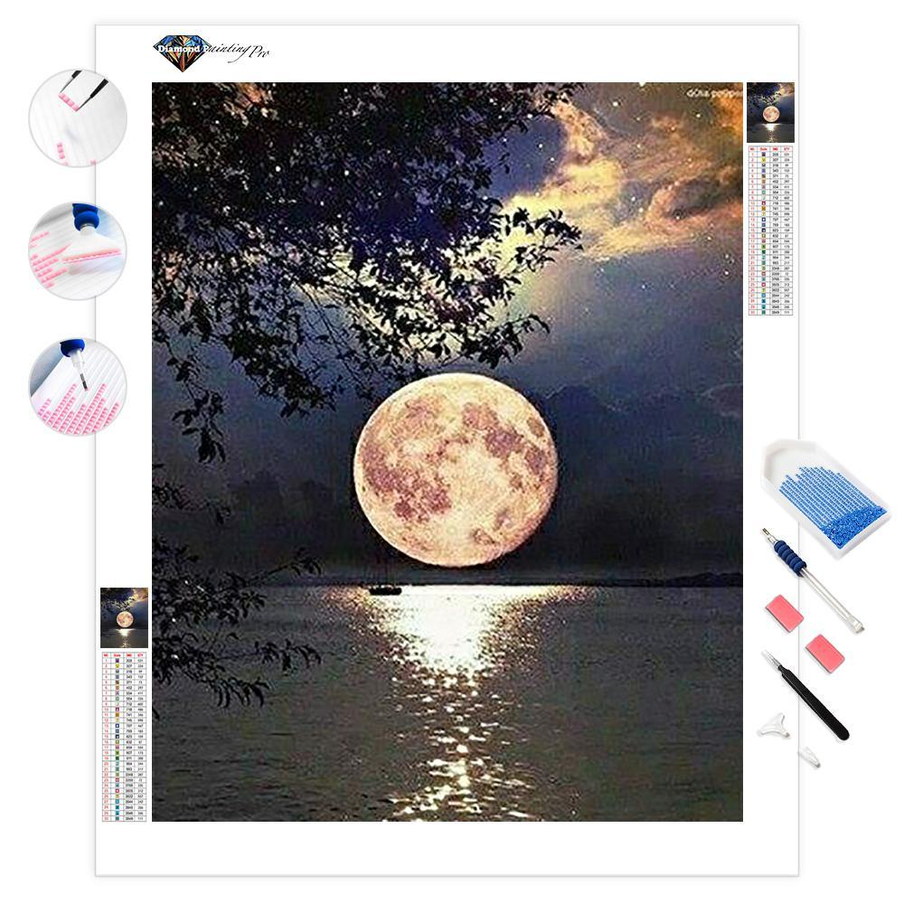 Beautiful Full Moon on Lake | Diamond Painting