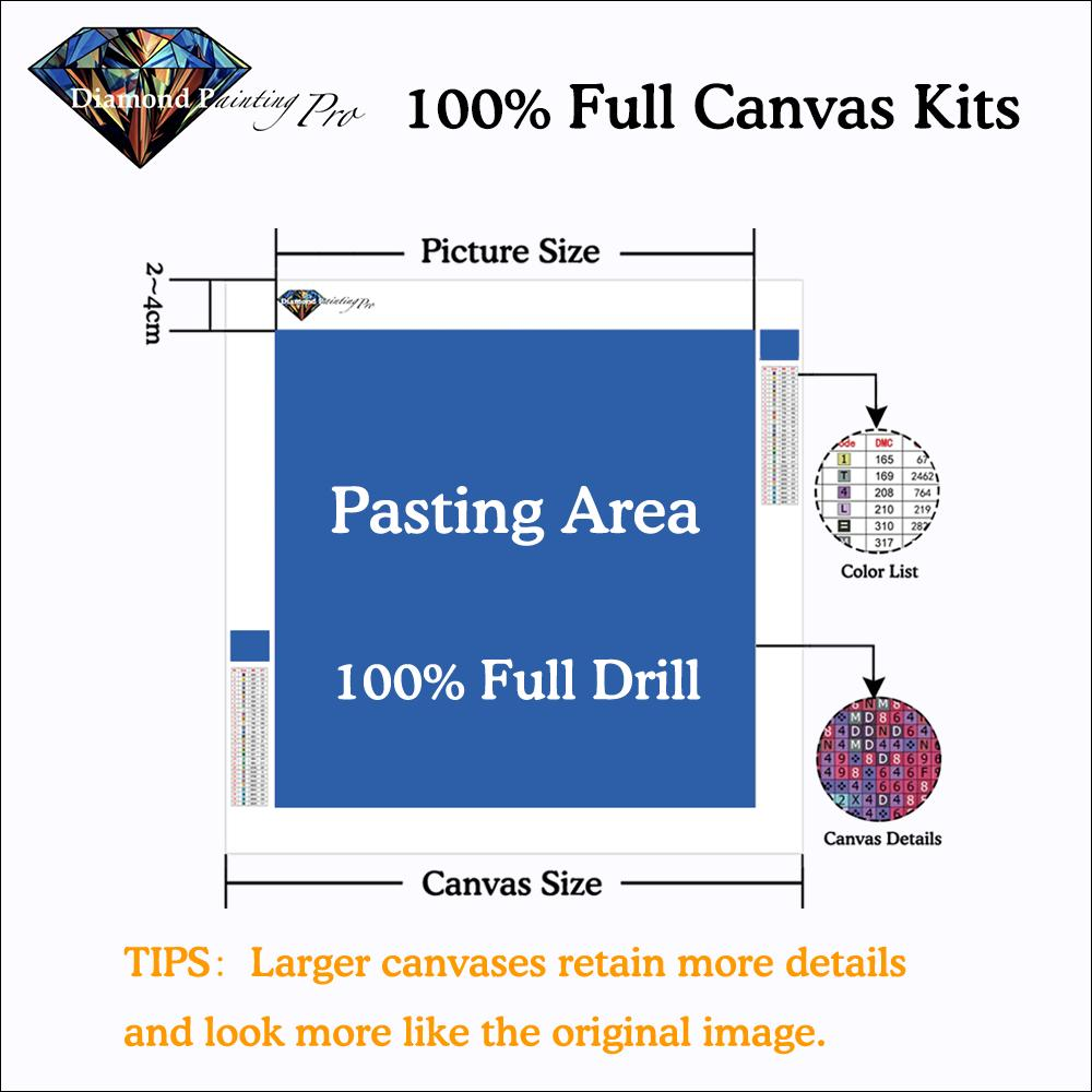 100% full canvas custom diamond painting kits
