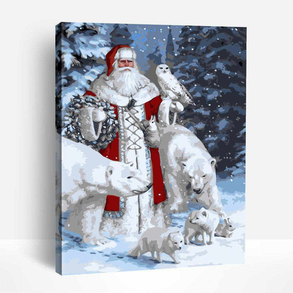 Santa and Bear | Paint By Numbers
