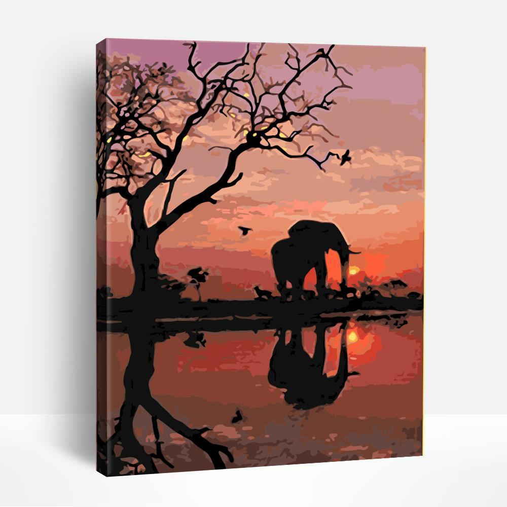 Elephant in the sunset | Paint By Numbers
